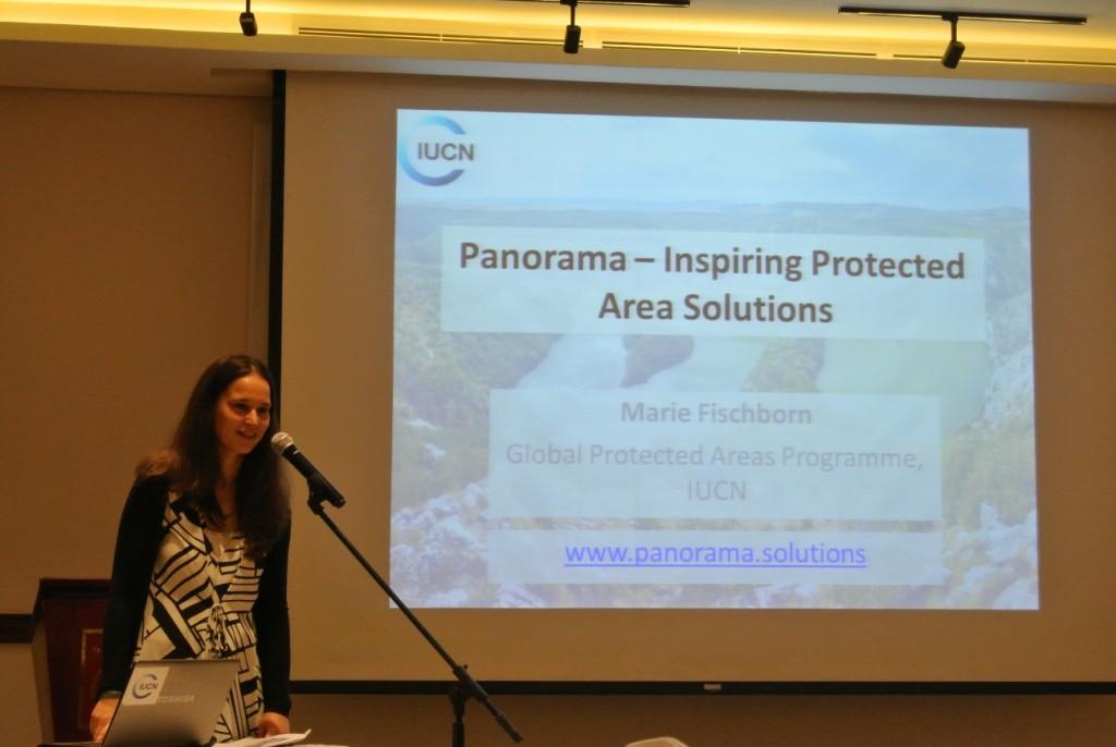 「パノラマ」について説明を行う世界保護地域プログラムのマリー氏