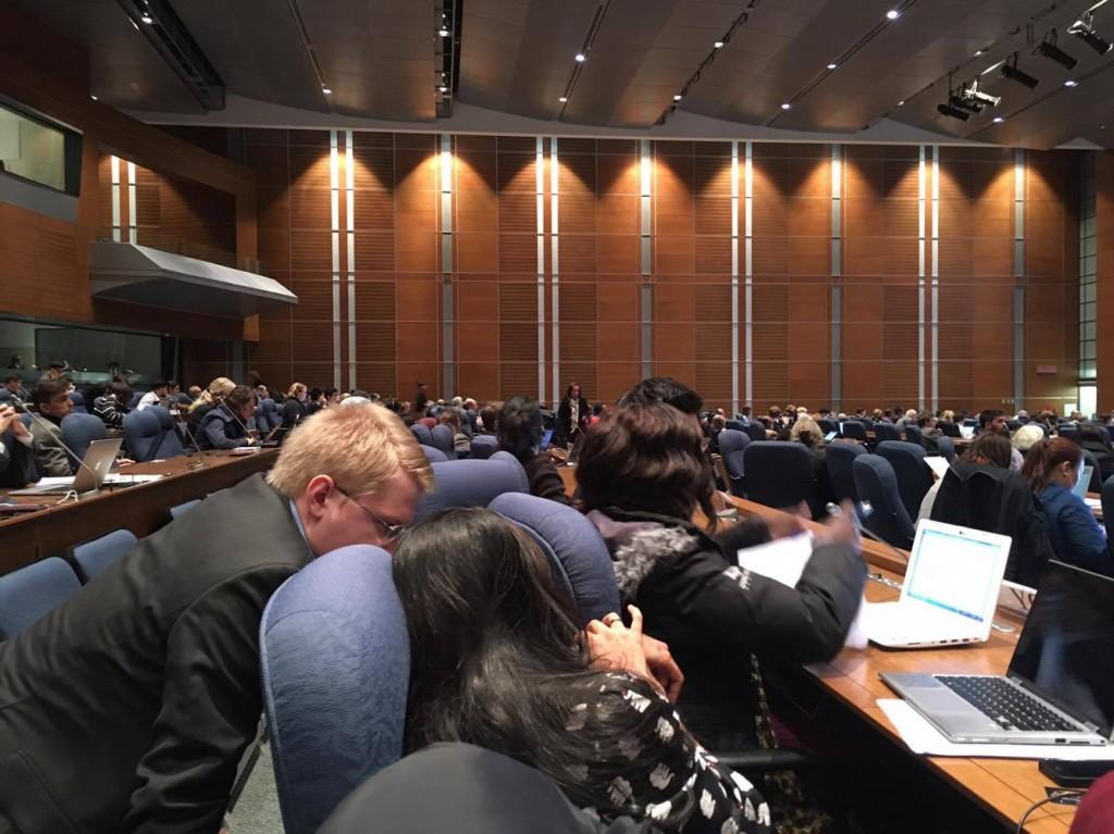 SBSTTA20での会議の様子。ちょっとユースには見えないメンバー