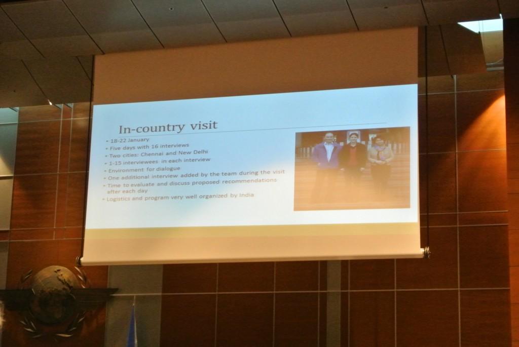 ノルウェー政府がインドのピアレビュープロセスを支援した際の内容を発表しているプレゼンテーションの様子