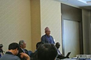 ネパールのKamalさんは水田と水田に関する文化の発表をしていました。