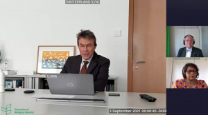 対面会合をホストするスイス大使からの挨拶